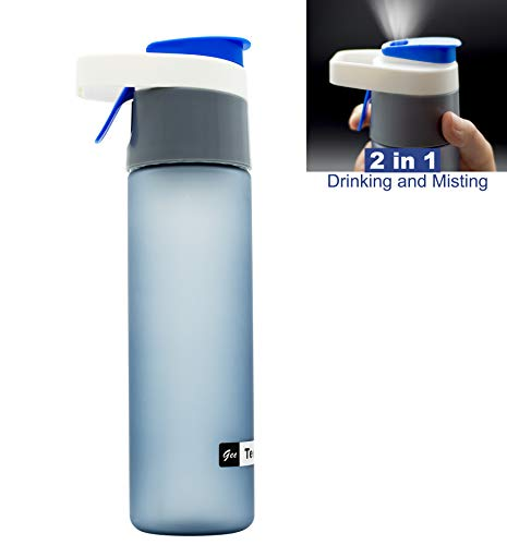 Teentumn Spray Sports Water Bottle, Drinking and Spraying Misting Bottle for Humidification and Cooling, 20oz, ()
