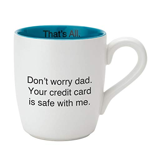 Arizona Credit Card - Credit Card Is Safe Glossy Blue and White 16 ounce Engraved Ceramic Mug