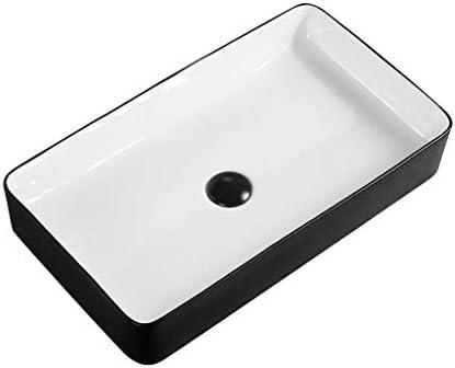 BoPin バスルームの洗面台、(蛇口無し)家庭正方形セラミック上記カウンタ流域浴室薄い側流域単一流域、3つのサイズの数 ベッセルシンクシンク (Size : 60X34X11cm)