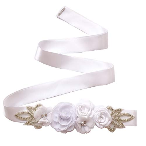 Sash Belt with Flowers Pearls Rhinestone for Wedding Bride/Baby Shower Dress,White