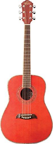 (Oscar Schmidt 6 String OGHS 1/2 Size Dreadnought Acoustic Guitar. Trans Red, Transparent (OGHSTR-A))