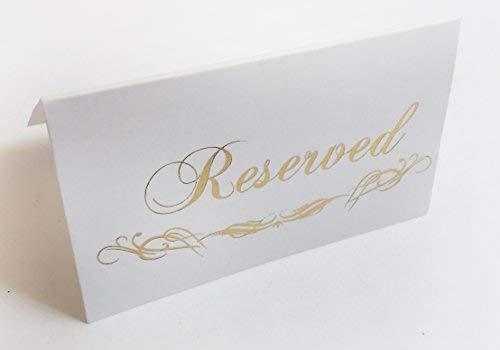 Cartel de mesa reservado dorado – 25 unidades – Colección de fiesta de boda (tarjeta de lugar reservada)