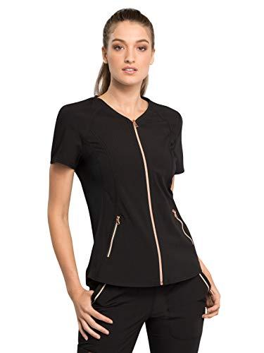 Shirttail Scrub - Cherokee Statement CK795 Women's V-Neck Zip Front Top Black 3XL
