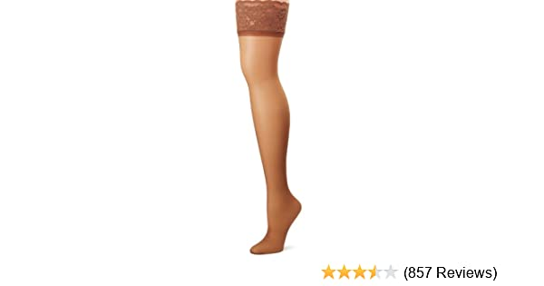 422cb6e67cc Hanes Silk Reflections Women s Lace Top Thigh High at Amazon Women s ...