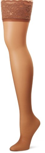 Hanes Silk Reflections Lace Top Thigh Highs 1 Pair Pack, CD-Barely There Classic Back Seam Fishnet