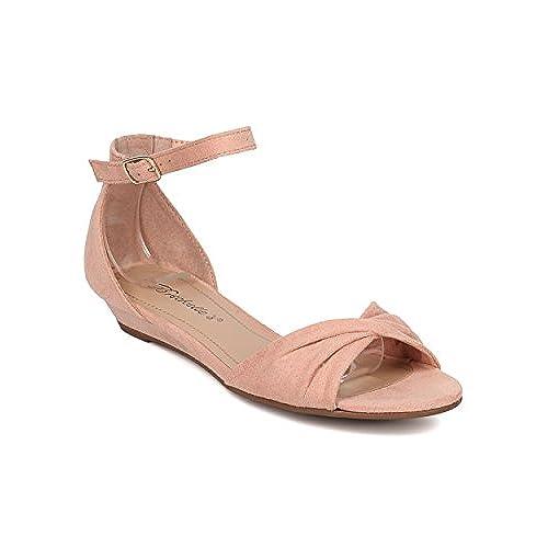 618606a2837 Women Low Wedge Sandal - Twisted Toe Sandal - Ankle Strap Sandal - HK39 By  Breckelles