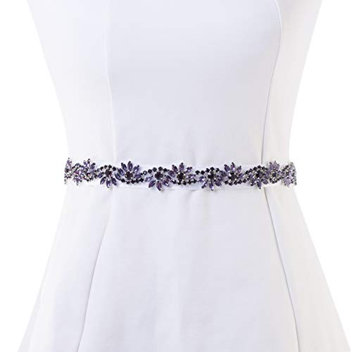 Bridal Applique, FANGZHIDI 1 Yard Purple Rhinestone Applique for Wedding Belt Sash- the Ribbon was NOT Attached to the Applique -