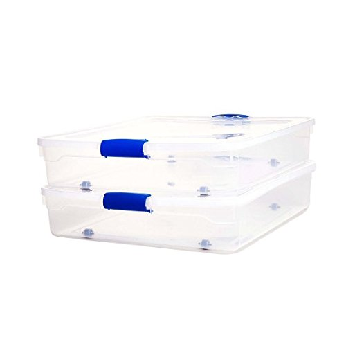 Homz 56 Qt. Plastic Storage Latching Boxes with Wheels, Clear/Blue (Set of 2) Clear Flat Square Lid
