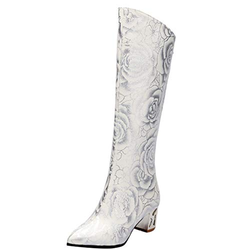 HYIRI Pointed High Tube Boots,Women's Retro Print High Heels Back Zipper Ladies Boots White