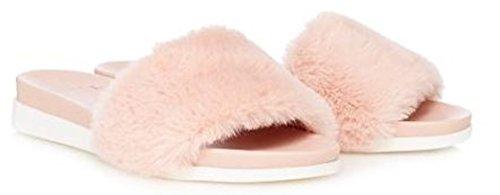 Faith Natural Pink Jeffery Faux Fur Sandals Size UK 6 EUR 39 1hY0lXOcR