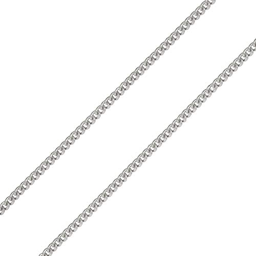 Pori Jewelers Genuine Platinum 950 Solid Diamond Cut Cuban/Curb Chain Necklace -0.8mm Thick (24)