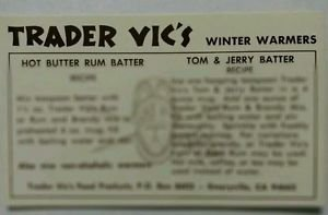Jerry Rum (Drink Recipe Card Trader Vic's Famous Winter Warmers Hot Butter Rum Tom&J *Rare*)