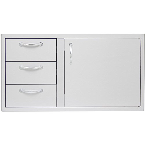 Blaze BLZ-DDC-39R Door-Drawer Combo with 304 Stainless Steel Construction Rounded Handles and 3 Drawers in Stainless