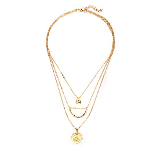 Creative Layered Pendant Necklace 3 Pcs,Haluoo Women Trendy Gold Plated Elephant Choker Stylish Crescent Moon Pendant Clavicular Chain Lovely Planet Carved Pendant Long Sweater Necklace (Gold)