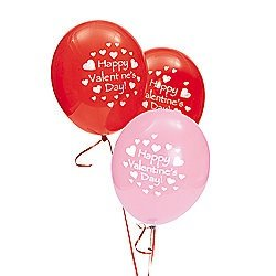 11'' Latex Happy Valentine's Day Balloons (package of 48 pcs) by Fun Express