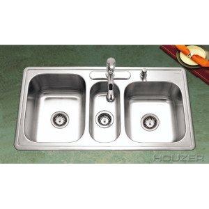 Houzer PGT-4322-1 Premiere Gourmet Series Topmount Stainless Steel 4-Hole Triple Bowl Kitchen Sink