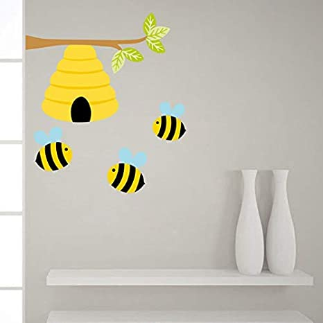 Amazon.com: Lahand Cute Bee Plant Wall Decals Honey Bee Wall ...