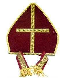 Bishop Pope Mitre Clergy Costume Prop Headgear Red Hat - Priest Hat Costume