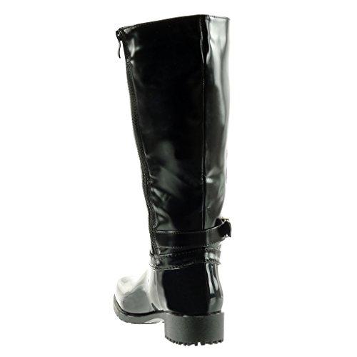 Rain Boots Cavalier Boots 3 Women's Wellignton Angkorly Biker Block Buckle Thong Heel High Fashion cm 5 Zip Shoes Black BwF8xnx0q
