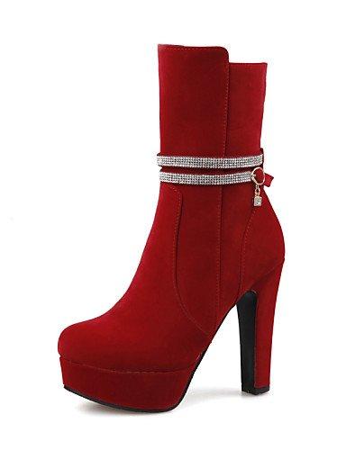 Vestito donna Uk3 Ufficio Cn35 da 5 5 rosso tacco lavoro marrone us5 Scarpe Stivali chiusi nero Casual tondo tacco Eu36 marrone e XZZ n0fEwqRtxn