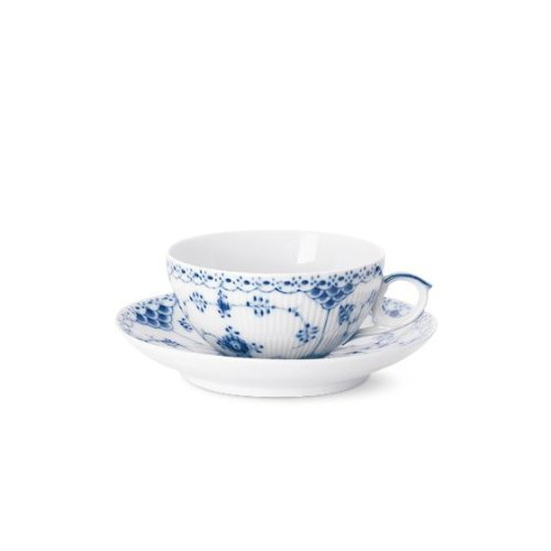 - Blue Fluted Half Lace 6.75 oz. Teacup and Saucer by Royal Copenhagen