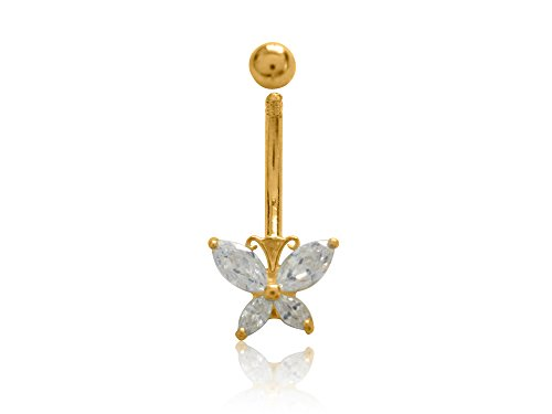 Ritastephens 10k Real Yellow Gold Butterfly Cubic Zirconia Belly Button Navel Ring Body Art Shiny