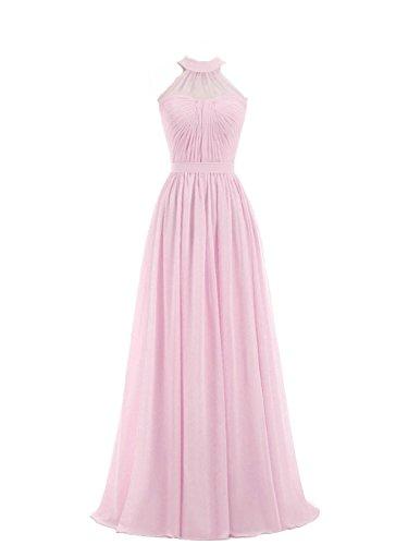Rosa sera Vestito da Donne Abito Vestito damigella da Halterneck da PRTS chiaro ballo partito Lungo Abiti Chiffon da ASOBay7q6