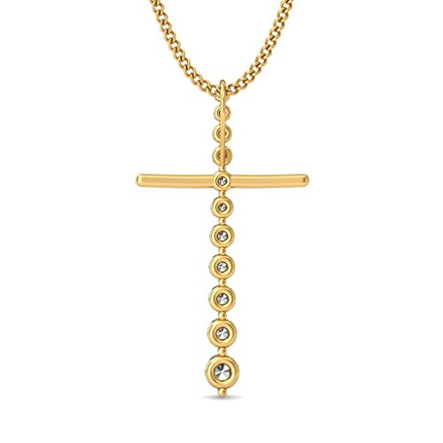 14 K Or jaune 0,46 CT TW Round-cut-diamond (IJ | SI) Pendentif