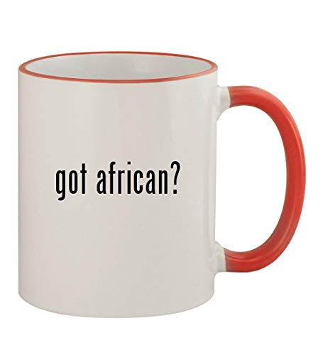 - got african? - 11oz Colored Rim & Handle Sturdy Ceramic Coffee Cup Mug, Red