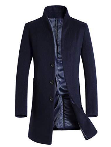 Mordenmiss Men's French Woolen Coat Business Down Jacket Trench Topcoat (XL, Navy)