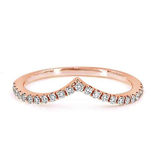 - Samie Collection Wave Chevron Stackable Wedding Band for Women Pairable with Engagement Rings, 0.22ctw Round Cubic Zirconia in 18K Rose Gold/ 18K Yellow Gold/Rhodium Plating, 1.5mm
