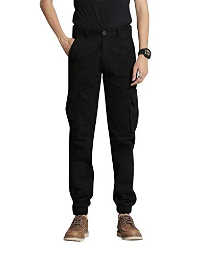 Cargo Noir Sport Crystallly Travail Pantalon Jambe Combat Style Droite Long Simple Homme Poche De Oqw67nW5q