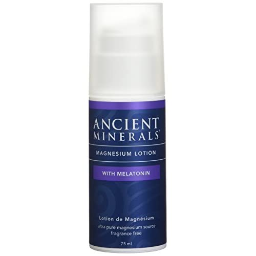 Ancient Minerals Goodnight Magnesium Lotion with Melatonin, 2.5 oz - Pure Genuine Zechstein Magnesium Chloride with Melatonin- Best for Sleep Through Topical Skin Dermal Absorption