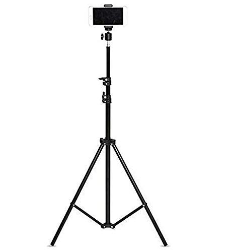 Dronean 7 Feet Portable Tripod Stand for Professional Photographer & Digital Work Like Self Video Shoot Youtuber Photo Studio  Compatible with All Kind of Mobiles & Cameras (Black)