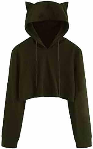 Womens Crop Top Hoodie,Cat Ear Long Sleeve Hooded Sweatshirt Cotton Pullover Top Outwear Tops Blouse