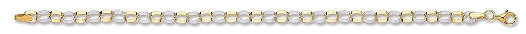 Pulsera de eslabones huecos ovalados de oro amarillo de 9 quilates de color blanco genuino de 17,78 cm