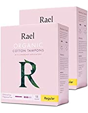Rael Organic Cardboard Regular Tampons - 100% Certified Organic and Non-Chlorine Bleached Tampons with Biodegradable Cardboard Applicator By Rael (2 Packs)