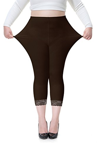 Vangee Women's Plus Size Lace Trim Soft Modal Cotton Leggings Workout Tights Pants Cropped Length (3X, Brown) ()