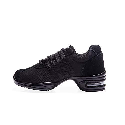 HIPPOSEUS Women's Dance Sneakers with air Cushion Modern Jazz Hip Hop Dance Shoes,Black,Model T01, 8.5 B(M) US