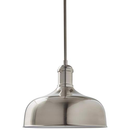 Stone Beam Modern Round Ceiling Pendant Chandelier Fixture – 12 Inch Shade, 12.5 – 60.5 Inch Cord, Brushed Nickel