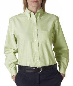 UltraClub Women's Classic Wrinkle-Free Long Sleeve Oxford Shirt, Lime, Medium