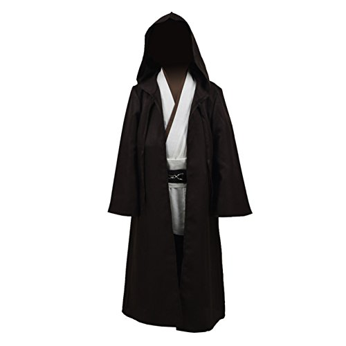 Jedi Costume Girl - Children's Halloween Hooded Cape Outfit Full Set Cosplay Costume (Large, Brown)