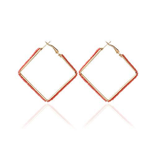 - WLLAY Bohemian Multi-Color Beaded Hoop Dangle Earrings Women Jewelry Gold Color Big Square Drop Earring Brincos (Pink)