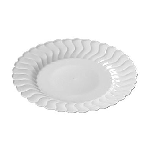 Fineline Settings 210-WH, 10.25-Inch Flairware White Plastic Dessert Plates, Party Catering Disposable Salad Dessert Round Dinner Plates (100) by Fineline settings