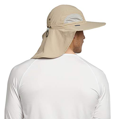 38023626a Solbari UPF 50+ Mens Outback Sun Protection Sun Hat - 23 Inches -  Beige/Light Grey - UV Protection, Sun Protective