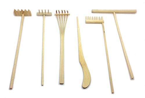 (Mini Zen Garden Tool Rake Set, 6 Pieces, Rakes, Drawing Stylus, Sand Smoothing Push Rake)