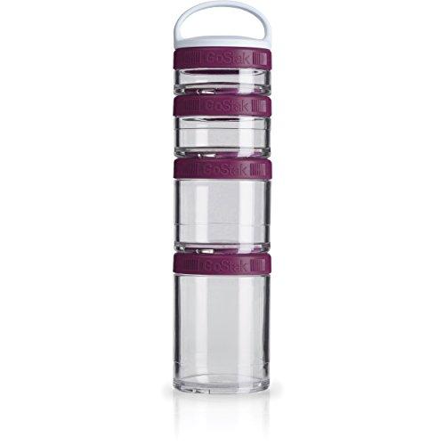 BlenderBottle GoStak Twist n' Lock Storage Jars, 4-Piece Starter Pak, Plum (Starter Pak)