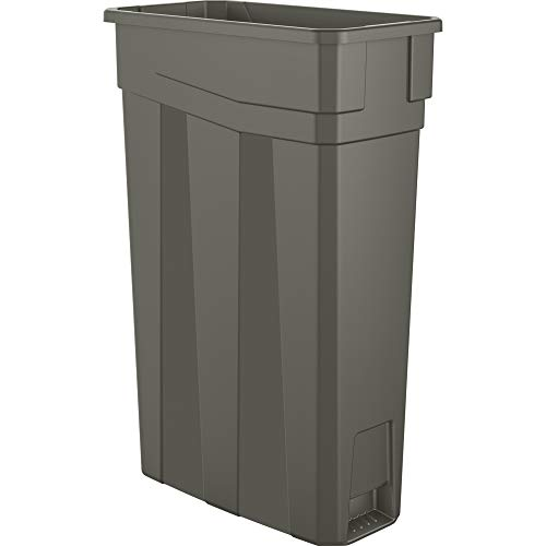AmazonBasics 23 Gallon Commercial Slim Trash Can, No Handle, Grey, 4-Pack