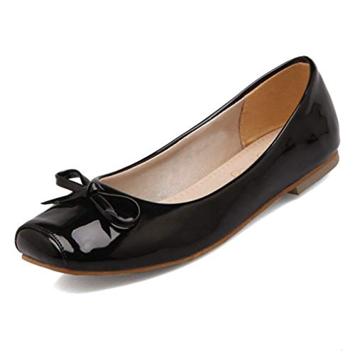 - CYBLING Womens Cute Square Toe Slip On Ballet Flats Patent Ballerina Walking Flats Dress Shoes Black