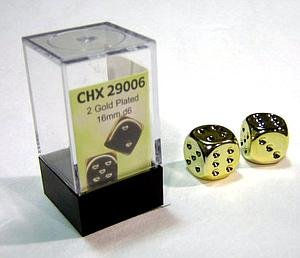 Gold Plated 16mm 6 Sided Dice 2 ea in Box by Chessex - Dice Metal Chessex